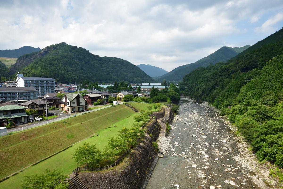現在の足尾・通洞地域と渡良瀬川。