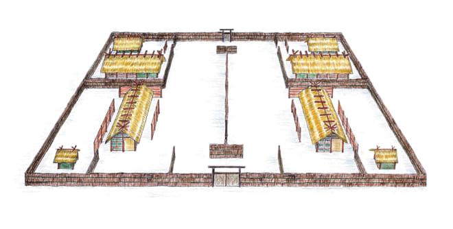 平城宮の遺構をもとに、笹生氏が描いた大嘗宮のイラスト。資料や文献から建物の遺構を割り出している。